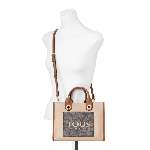 Shopping mediano Amaya Kaos Icon marrón y beige