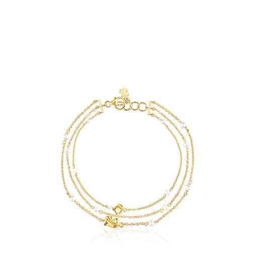 Pulsera conchas-cadenas de oro y perlas Oceaan