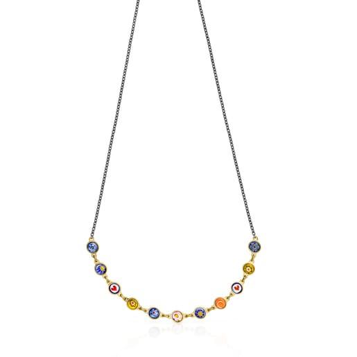 Collar Minifiore de Plata Vermeil, Rutenio y Cristal de Murano