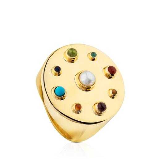 Vermeil Silver Super Power Ring with Gemstones