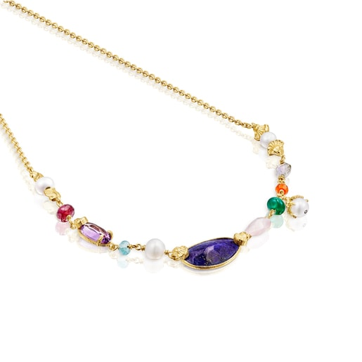 Silver vermeil Oceaan Color Necklace with pearls and gemstones