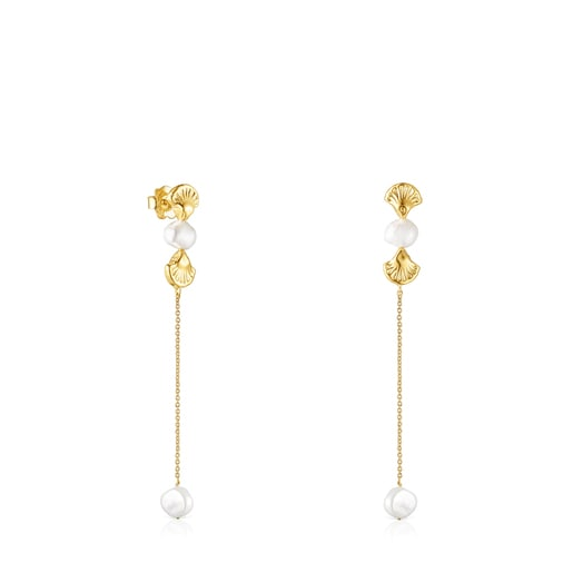 Long gold Oceaan shell Earrings with pearls