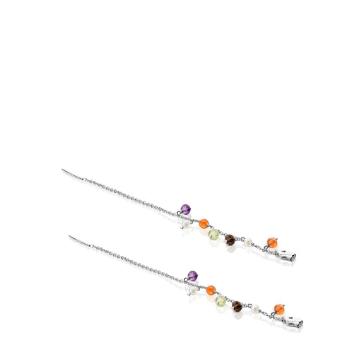 Pendientes largos de plata, gemas y perlas Sea Vibes