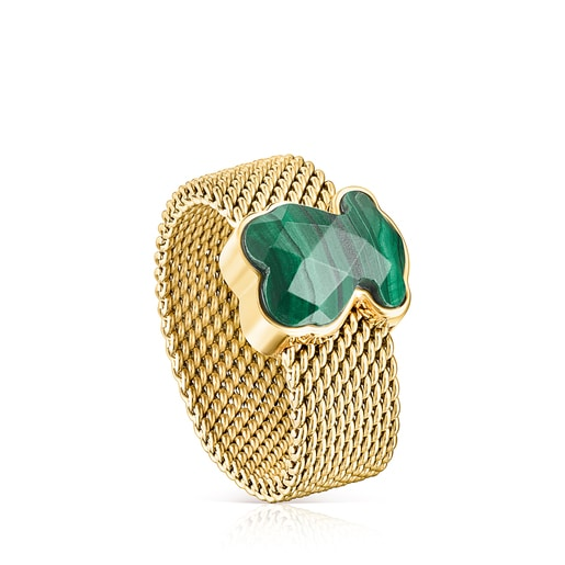 Gold-colored IP Steel Mesh Color Ring with Malachite Bear motif