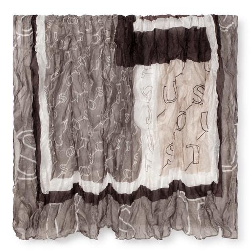 Brown silk pleated Script scarf