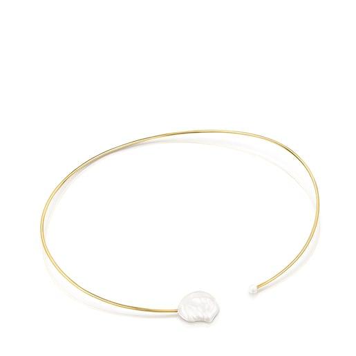 Collar rígido pétalo de plata vermeil y perlas Nenufar