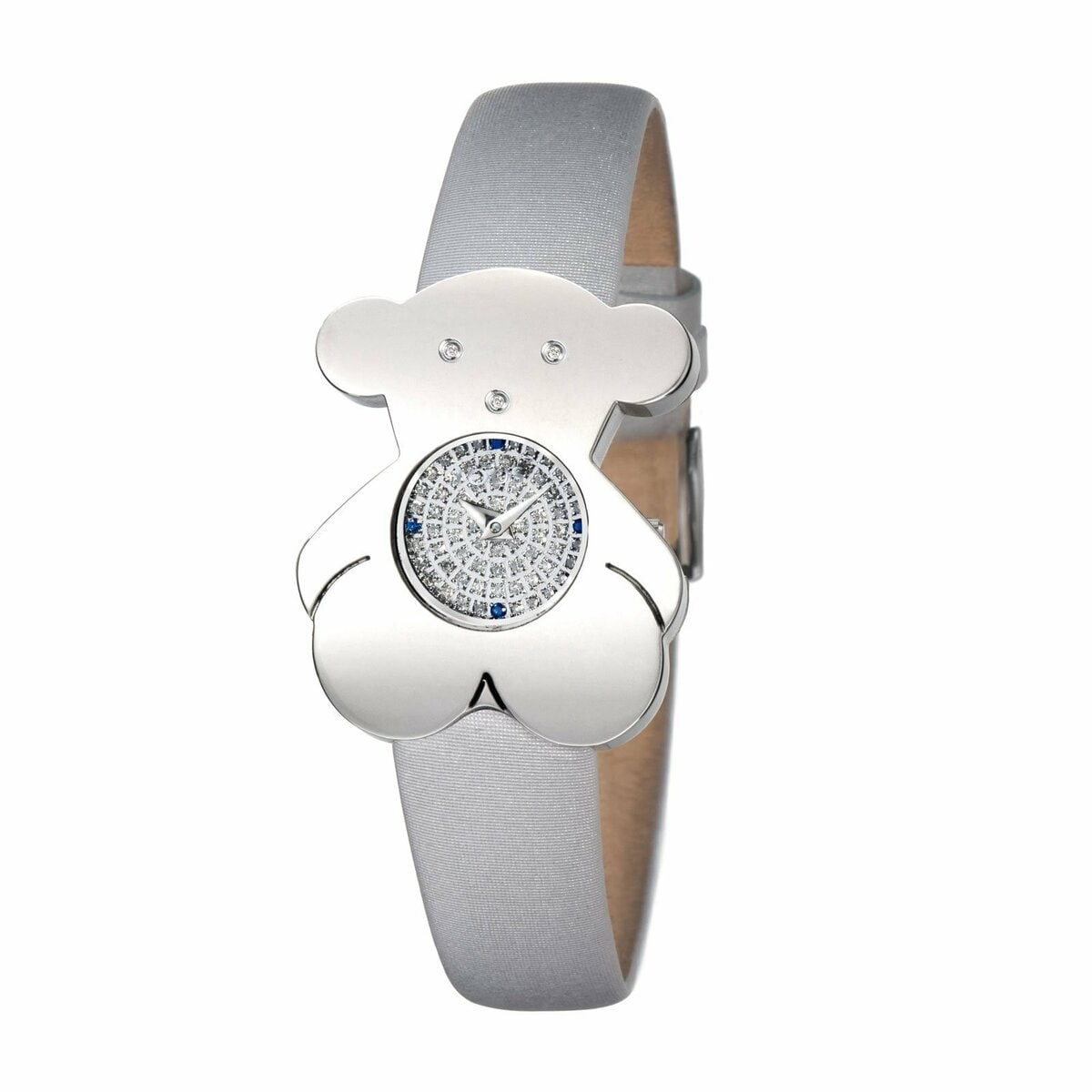 Steel Tousy Watch with Diamonds and gray Satin strap