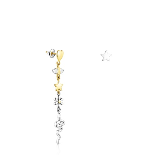 Short/long gold colored IP Steel Fragile Nature Earrings
