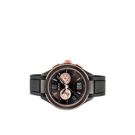 Reloj ST bicolor de acero IP negro/IP rosado con correa de Caucho negra