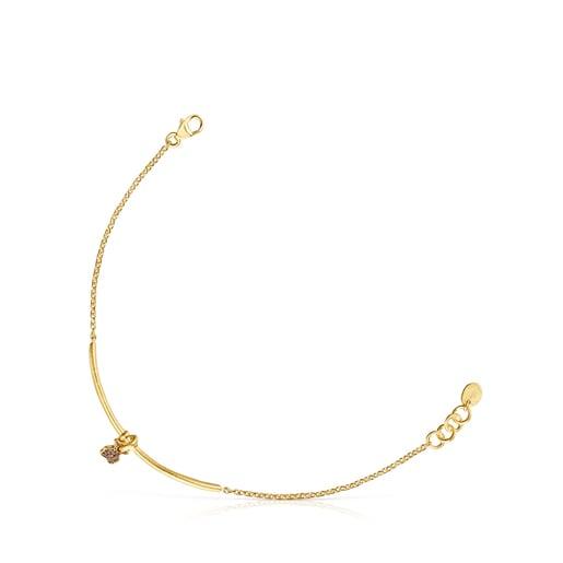 Bracelet Luah ourson en argent vermeil et quartz