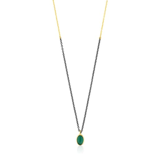 Gold and Oxidized Silver Gem Power Necklace with green Agate