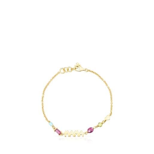Silver Vermeil TOUS Mama Bracelet with Gemstones