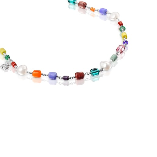 Long silver Oceaan Necklace with multicolored glass and pearls