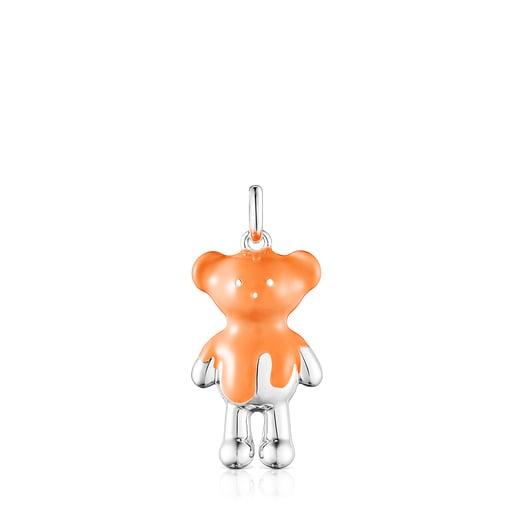 Pingente Teddy Bear em prata e esmalte laranja - Exclusivo online
