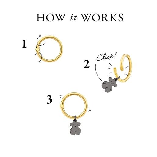 Collar Hold de Plata Vermeil y Cuero marrón con anillas