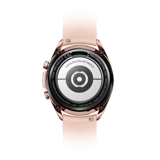 Bronze IP steel Samsung Galaxy Watch3 by TOUS with nude colored silicone strap