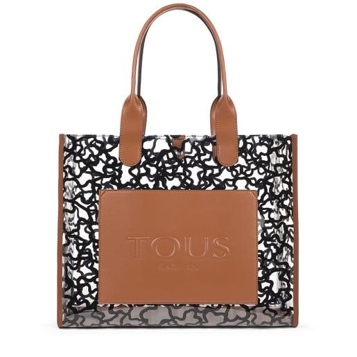 Large shopping bag Amaya Vinyl transparent brown