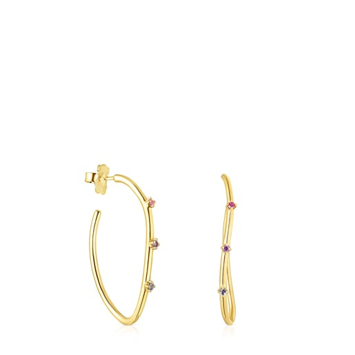 Silver vermeil Magic Nature hoop Earrings with gemstones