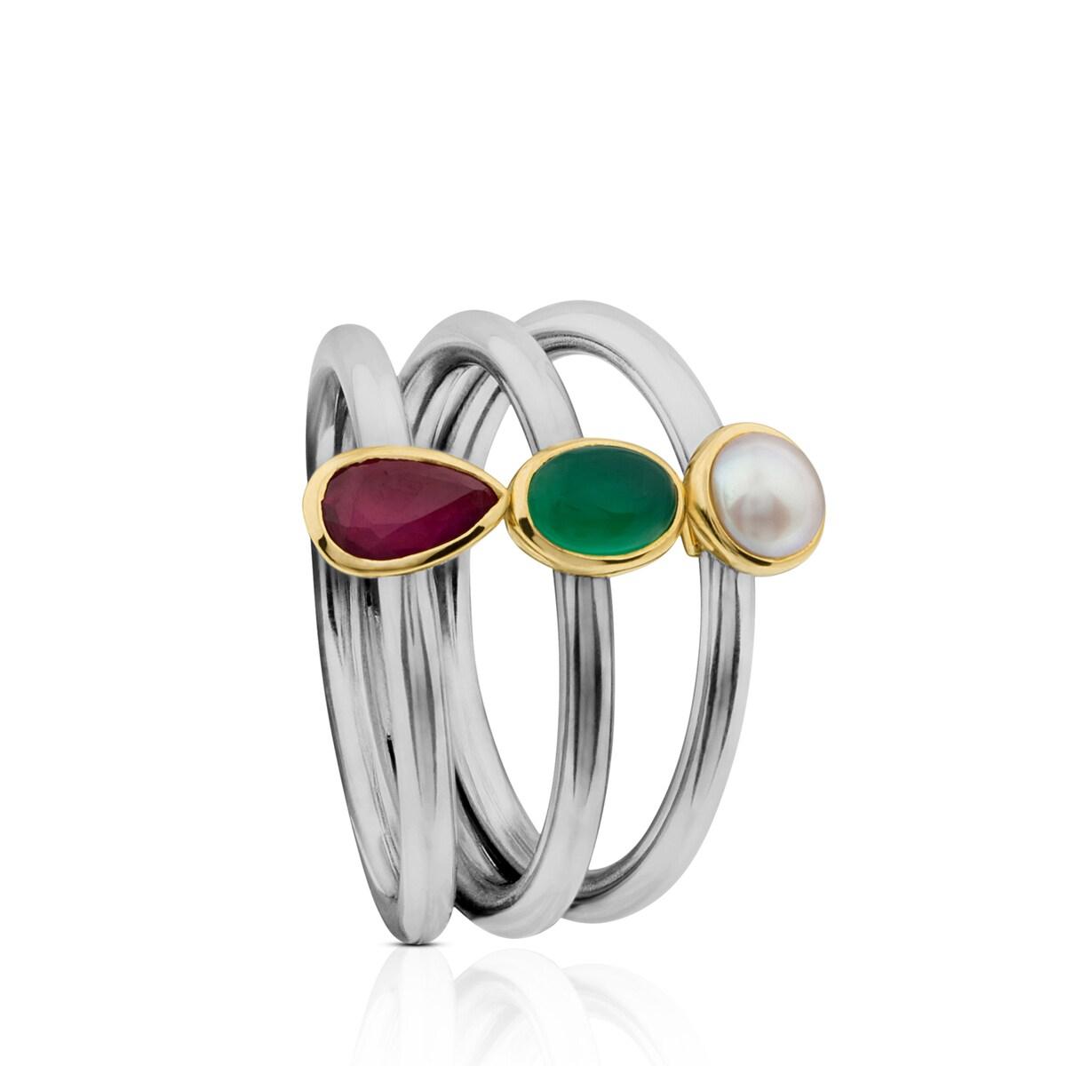 Titanium Gem Power Ring with Gold and Gemstones