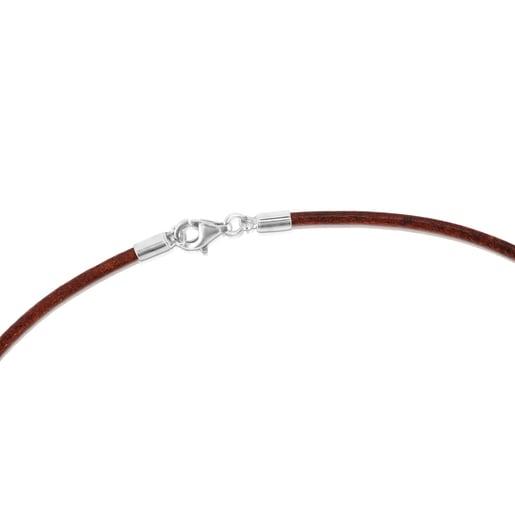 チェーン  TOUS Chains  革  40cm シルバー ブラウン 2mm