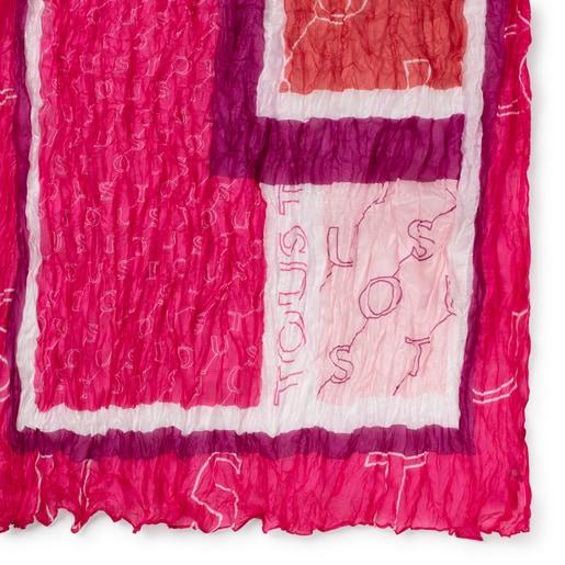 Mocador prisat Script de seda rosa