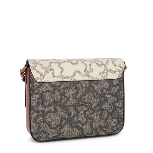 Small beige and burgundy Kaos Legacy crossbody bag