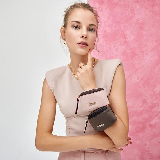Mini khaki Shelby Wristband bag