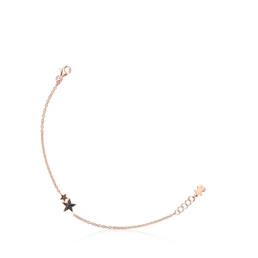 Pulsera Teddy Bear Stars de plata vermeil rosa, espinela y rubí