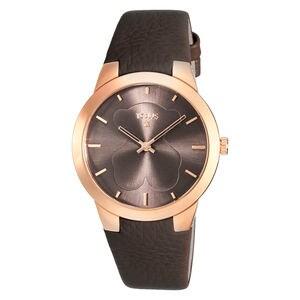 Rellotge B-Face d'acer IP rosat amb corretja de pell marró