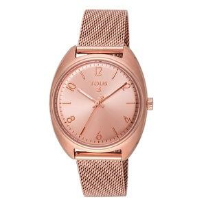 2d7615045d3a Reloj Retro de acero IP rosado