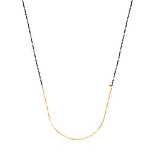 Μεσαίου μήκους Αλυσίδα Gem Power 50cm από Χρυσό και Οξειδωμένο Ασήμι.