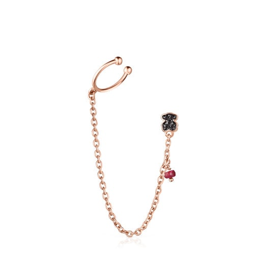 Motif Earring in Rose Silver Vermeil with Spinels and Ruby