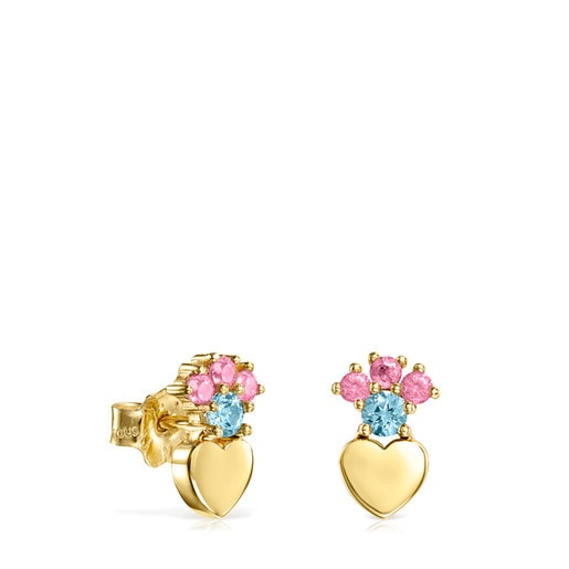 Gold Real Sisy heart Earrings with Gemstones