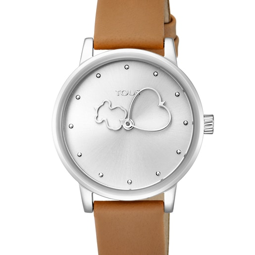 Uhr Bear Time aus Stahl mit braunem Lederarmband