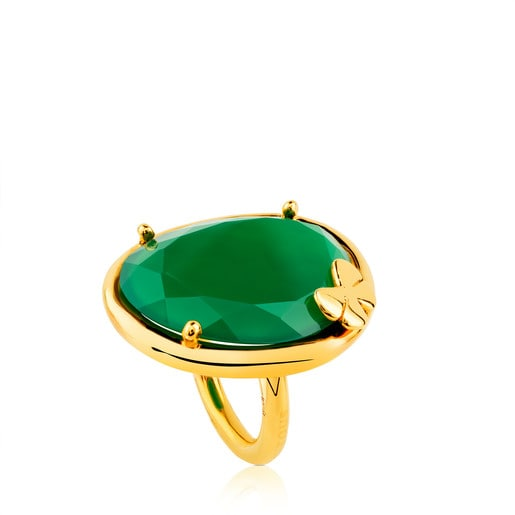 Vermeil Silver Dinah Round Ring with Chrysoprase