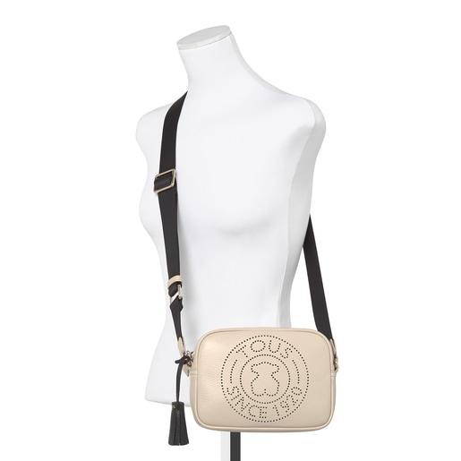 Μικρή μπεζ τσάντα Χιαστί Leissa από δέρμα