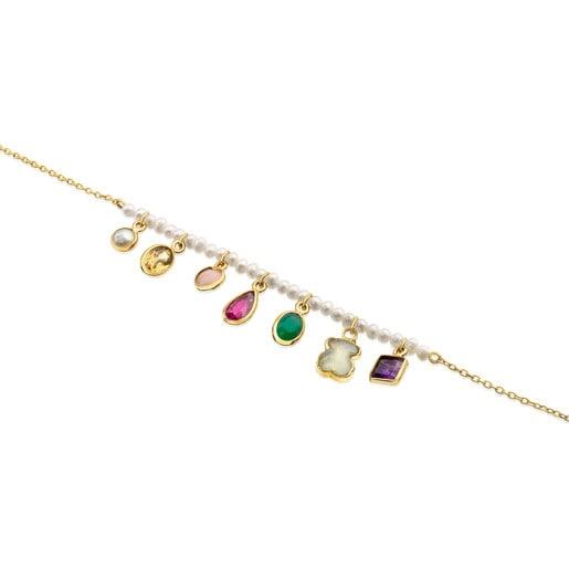 Pulsera Gem Power de Oro y Perlas con Gemas