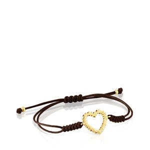 Gold San Valentín heart Bracelet with brown Cord