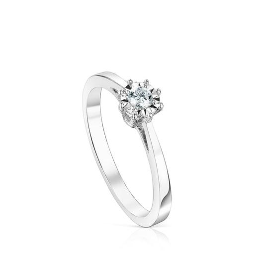 Anillo Les Classiques rosetón pequeño de Oro blanco y Diamantes 0.10ct