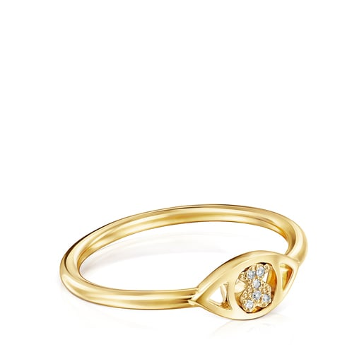 Gold TOUS Good Vibes eye Ring with Diamonds Bear motif