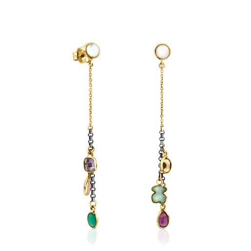 Boucles d'oreilles Gem Power en or et argent avec pierres précieuses