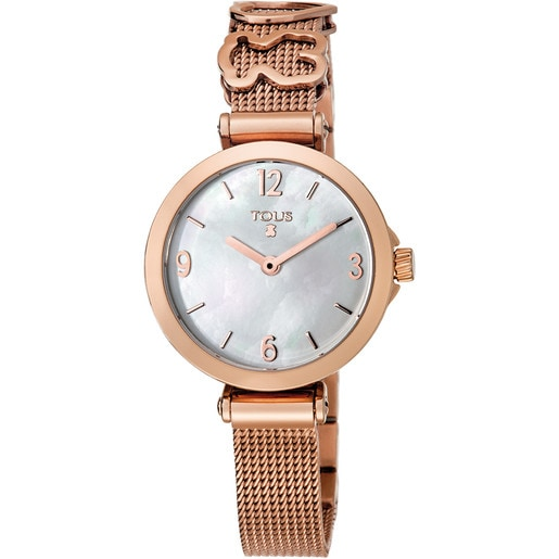 Pink IP Steel Icon Charms Watch with Mother-of-pearl