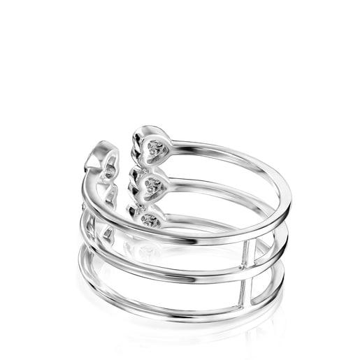 White Gold TOUS Les Classiques open Ring with Diamonds 0.16ct