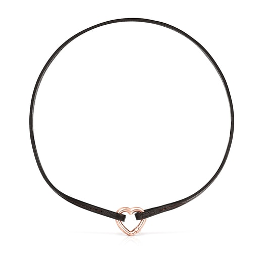 Hold heart Necklace in Rose Vermeil and brown Leather