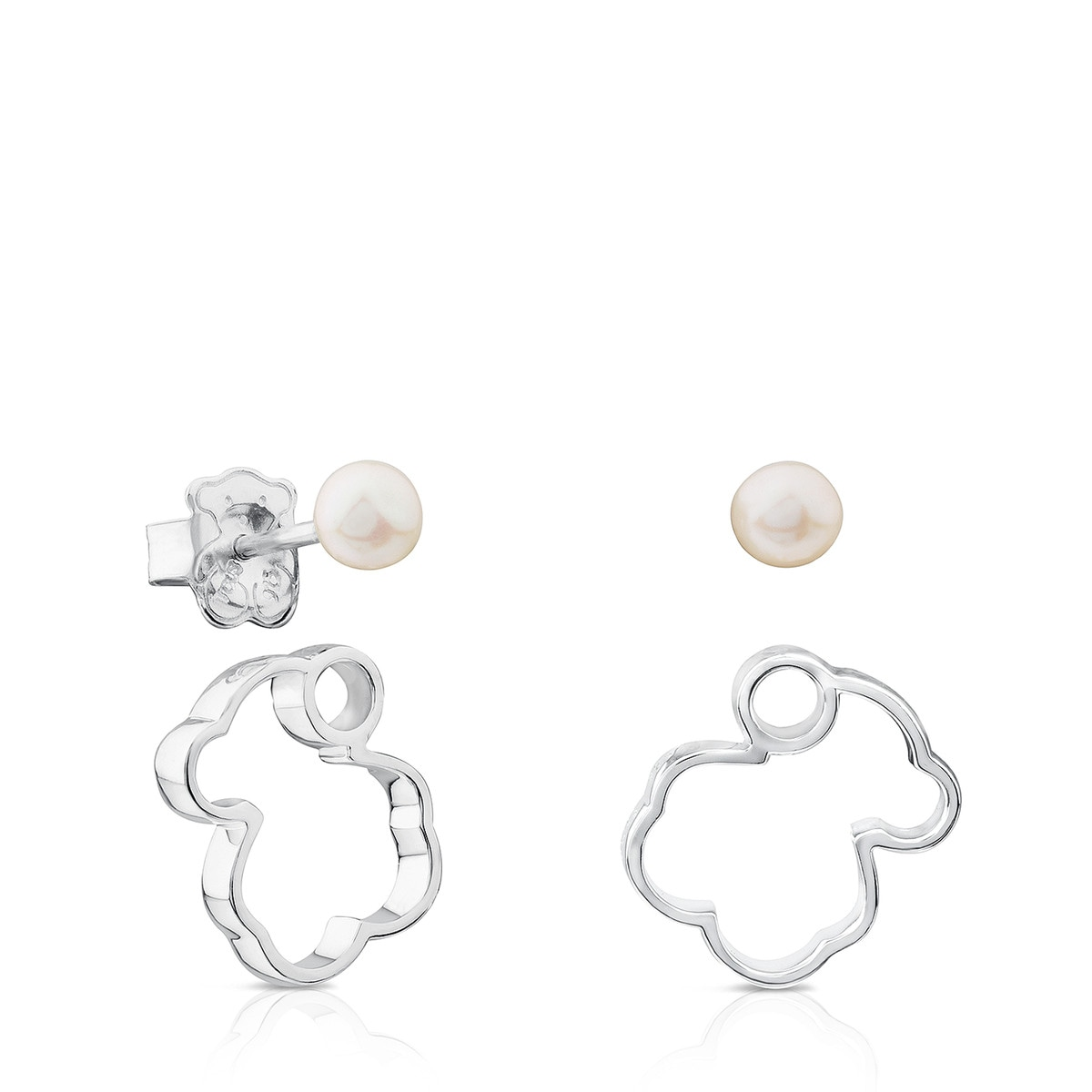 Silver Silueta Earrings With Pearl Tous Site Us