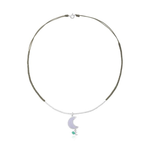 Vermeil Silver Eugenia By TOUS Lune Chérie Necklace with Chalcedony and Apatite