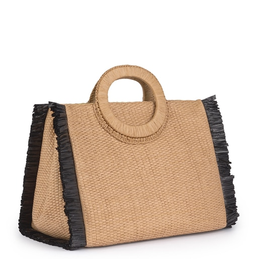Medium Nude color Amaya Raffia Shoulder Bag
