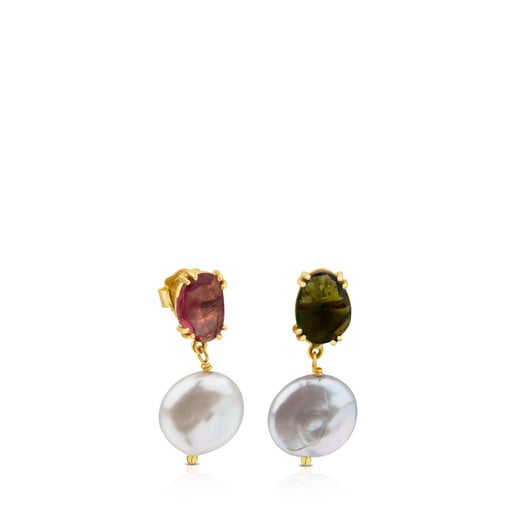 ATELIER Precious Gemstones Earrings in Gold with Tourmalines and Pearls