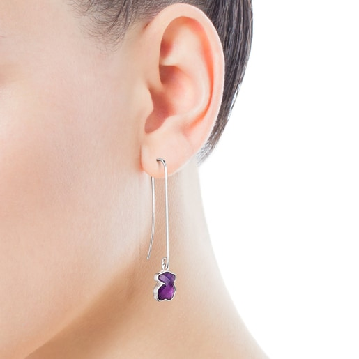 Long Silver and Amethyst Icon Color Earrings
