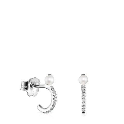 Aretes pequeños Les Classiques de Oro blanco con Diamantes y Perla